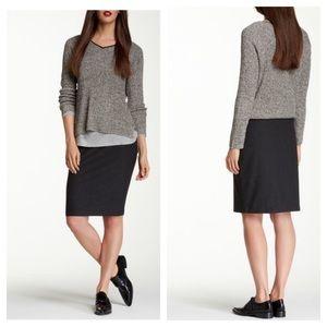 Eileen Fischer Charcoal Foldover Knit Pencil Skirt